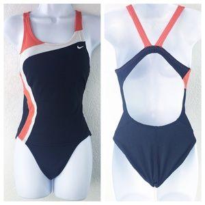 Nike Black & Orange One Piece Swimsuit Size 4/30